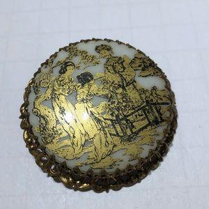 Vintage oriental resin gold painted brooch pin